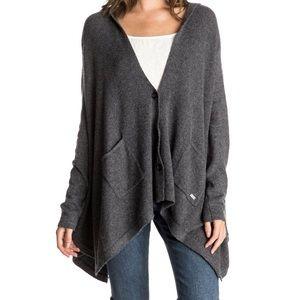 M/L Roxy hooded sweater cape poncho grey CUTE EUC